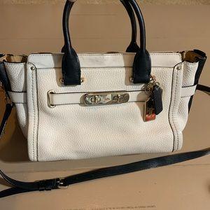 Coach ivory black leather Crossbody bag 14 by 8